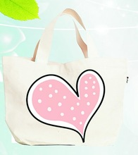Cute canvas cotton custom print small shopping bags wholesale for girls