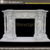 Hand Carved Indoor White Marble Fireplace Mantel