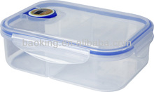 Plastic airtight lunch box with 2 divider