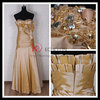 off shoulder sweetheart taffeta gold maxi beaded dress