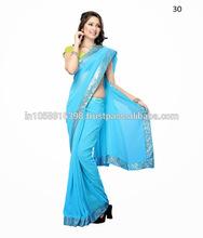 Plain Saree With Lace Border Design