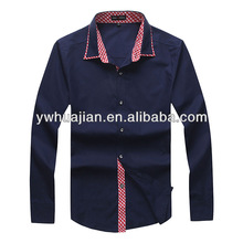 Fashion casual fit cotton solid color long sleeve men's black dress shirt made with checked lace