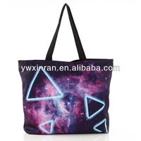Personalized Zipper Starry Sky Geometry Shoulder Reusable Shopping Canvas Bag