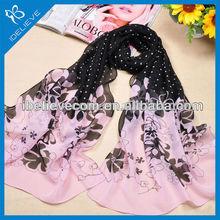 New fashion design dot and flower print polyester chiffon scarf