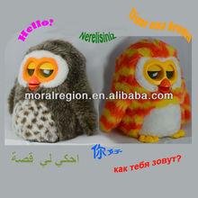Spanish language interactive learning toys cute plumpy plush mini owl animal toys for kid's gift
