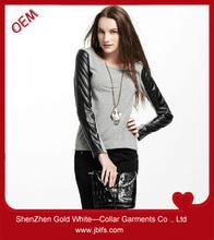 china custom t shirt leather sleeves