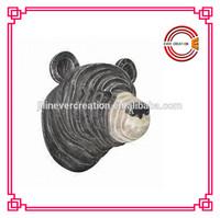 wood carving black bear head wooden handicrafts