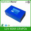 12V 40Ah Lifepo4 Backup Battery 12v light weight battery packs