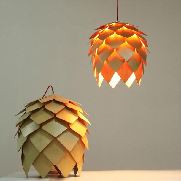 lampada di design di Crimea pigna lampadario in legno moderno ...
