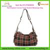 Red Gingham Canvas Travel Student Messenger Shoulder Bag