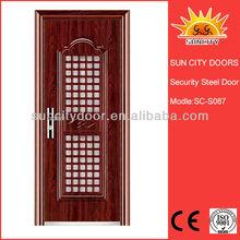 Unique steel door front gate safety door design with grill SC-S087