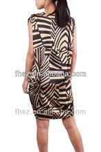 Prined short sheeve ladies causel dress