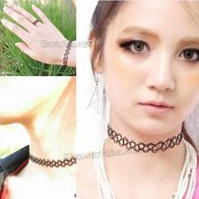 Vintage black sexy stretch hippy henna tattoo choker necklace