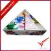 Triangle shape foldable coffee mug packaging boxes with ribbon design insert gold cloth