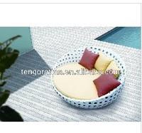 outdoor furniture PE rattan sofa beach sun round bed