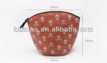 cheap design new style cute skull women leather zipper cosmetic bag make up bag for promotion bulk
