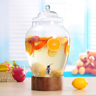 3 Gallon Glassware glass beverage dispenser with wooden stand