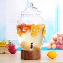 3 Gallon Glassware glass beverage dispenser with wooden stand