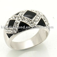 925 Sterling Silver Clear Crystal With Black Enamel Ring