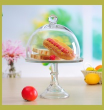 Crystal Clear Glass Cake Dome Cover with glass stand