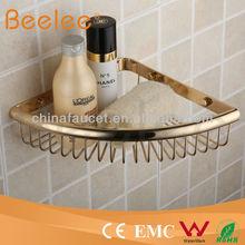 Modern Brass Golden Corner Wire Soap Sponge Basket Bathroom Rack