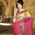 hermoso bordado de ropa étnica del pakistán para la ropa las mujeres sari