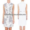 Mulheres de vestido sem mangas camisa chiffon, Camisa longa com auto belt ( NTF04025 )