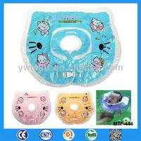 Cute cat head pvc inflatable baby swim neck ring