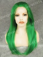 Green color long straight cosplay Green Drag Queens Wig Synthetic lace front wig