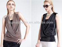 New Design Fashion Ladies V-Neck Black Mesh Polo Plain t shirt