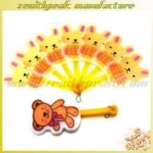 2014 Hot sale summer gift child folding fan,cartoon bear folding plastic fan,small plastic fan