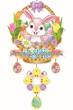 2014 3D glitter paper easter decoration,rabbit egg picture