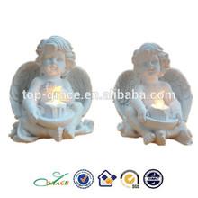 POPULAR resin white angel with LED light christian gift