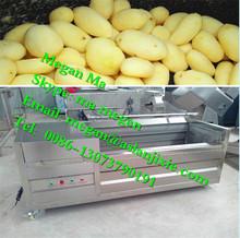 horizontal brush cassava carrot washing machine/brush potato peeling machine/ potato washing peeling machine