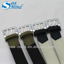 Men fashion double pin buckle webbing belt for man
