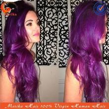 2015 hot custom wigs on sale! Brazilian virgin hair lace front wig purple ombre hair wig