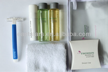 shampoo razor shaving foam cream towel shower ear caps quality wholesale hotel amenity airline and travel kit