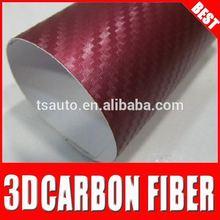 TSAUTOP 3D Wine Red auto foil\car wrap carbon folie for wholesale
