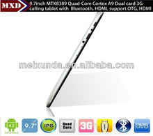 android smart tablet pc 3g calling tablet MTK8389 Quad core IPS Screen Dual 3G SIM card slot 9.7inch smart tablet