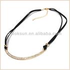 Crystal rhinestone cotton cord necklace