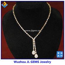 Fashion jewelry,pear zircon,silver plate copper pendant necklace