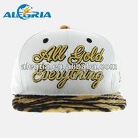 Oem tiger print brim flat brim snapback hats embroidery