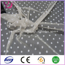 2014 New product 100% nylon tulle fabric mesh Ivory dots flock for wedding dress