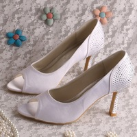 (14 Colors) Exotic Women Shoes White Satin Crystal