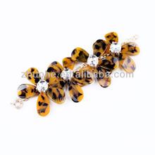 Wholesale fashion Jewelry leopard acrylic big flower sweet thing floral bracelets GXSL-091