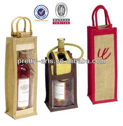 new top quality promotional custom made wine bottle jute burlap bag