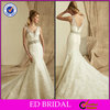 Enchanting Beaded Waist and Straps Mermaid Lace with Court Train Champagne Colored Wedding Dresses