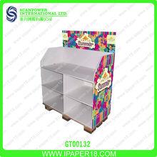Cardboard 4 tiers retail pallet sportwears display rack