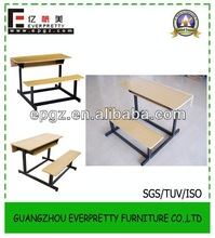 Promary School Kids Wooden Bench Desk and Chair for Dining