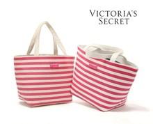 Victoria's Seret Large Pink Stripe Canvas Shopping Shoulder handbag bag tote